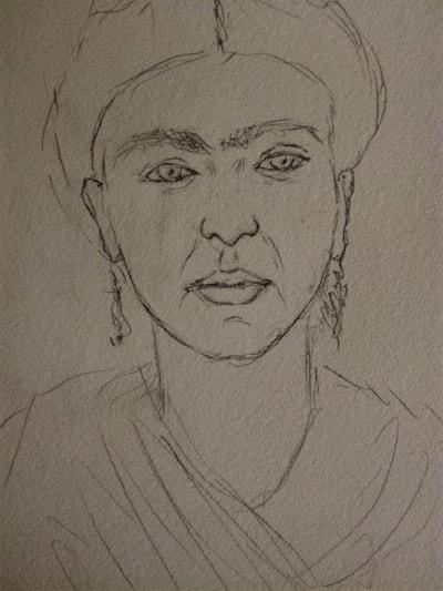 Frida Kahlo (sketch for watercolour)