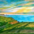 View from pennycrocker, Nr. Boscastle, Cornwall. Reworked.