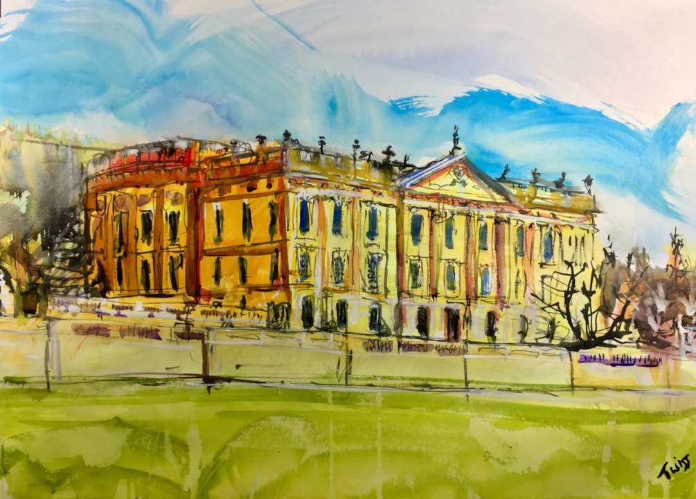 Chatsworth House, ink on A2