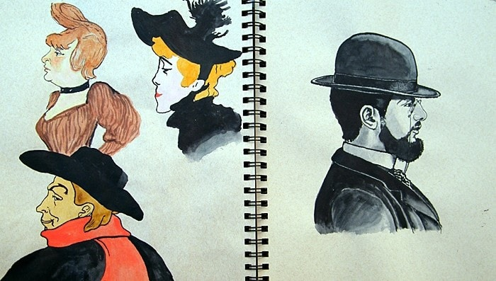 Toulouse Lautrec sketches - A4 sketchbook.