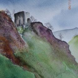 Foreboding sky over Peveril Castle Castleton