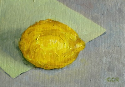 "'Lemon' 5"" X 7"" oil on canvas board"