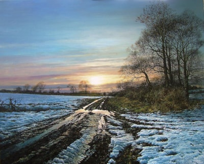 1004 Sunset track 76 cms x 61 cms (oil)