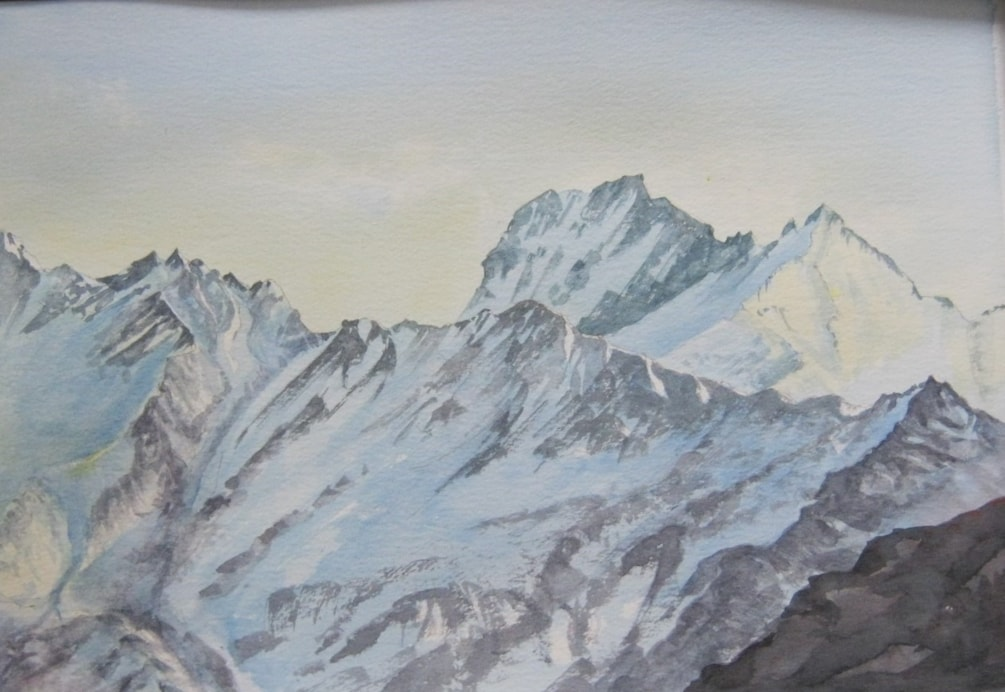 """Mount Aspiring ""  in watercolour. Mount Aspiring National Park New Zealand."