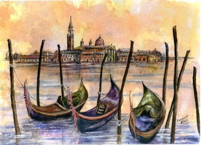 Three Gondolas, Venice.