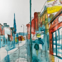 Derby St in the rain Leek, charcoal and ink on A2