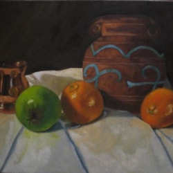 Pottery copper and fruit still life