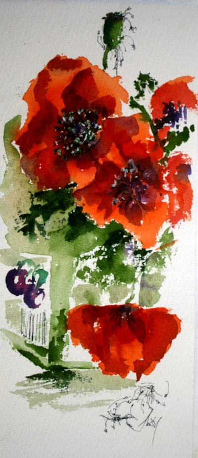 Poppies in a Jam Jar