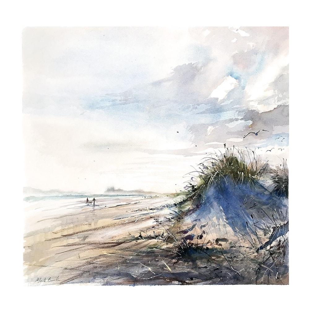 Black Rock sands watercolour, plein air 50 x 50 cm