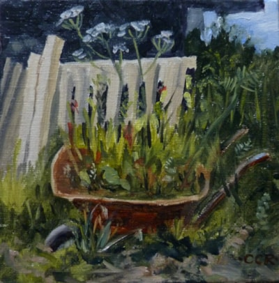 Weeds and wheelbarrow II