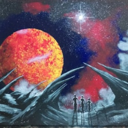 Space scene with family