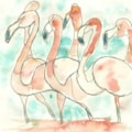 A one line Flamboyance of Flamingos