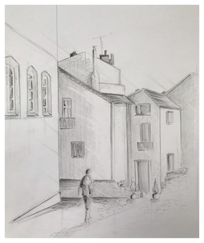 Walking in Menton, Sketch