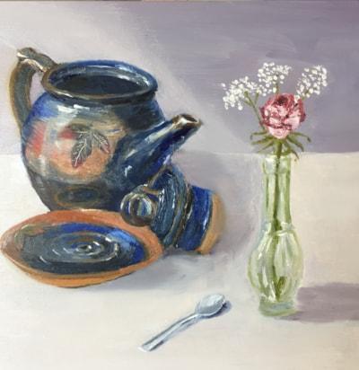 Tea pot and rose