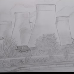 Ratcliffe power station.. sketch from cycle path.