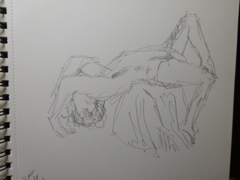 Wrong hand life pose, nude, 3 minute drawing