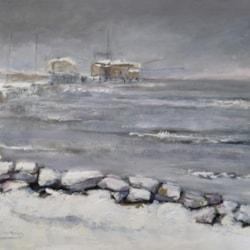 Rimini harbor in the snow (Porto di Rimini) - Leonetta Rossi painter