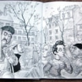 Montmartre Square - A4 sketchbook- pen and water-soluble pencil
