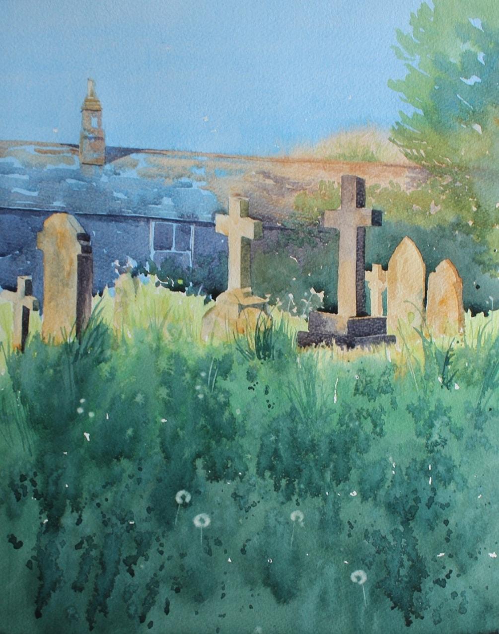Sundown over the graveyard