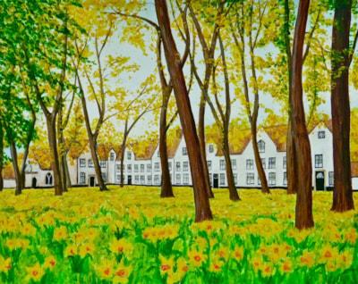 Alms Houses in Bruges in Spring