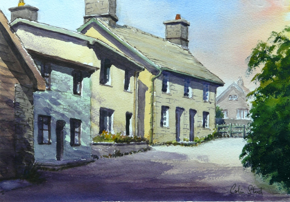 Cottages, Newbridge-on-Wye' Powys Painting size 25cm x 36cm.