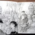 Paris Scene- A4 sketchbook-Pen & water-soluble pencils.  (HB,6b & 8b)