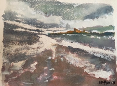 Stormy day at Bamburgh Castle, Northumberland.