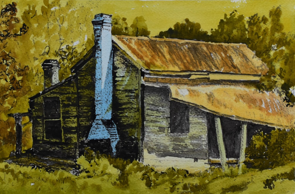 """ The blue chimney"" - inks at various dilutions , matchstick to draw with , watercolour and brush for paint with."