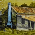 """"""" The blue chimney"""" - inks at various dilutions , matchstick to draw with , watercolour and brush for paint with."""