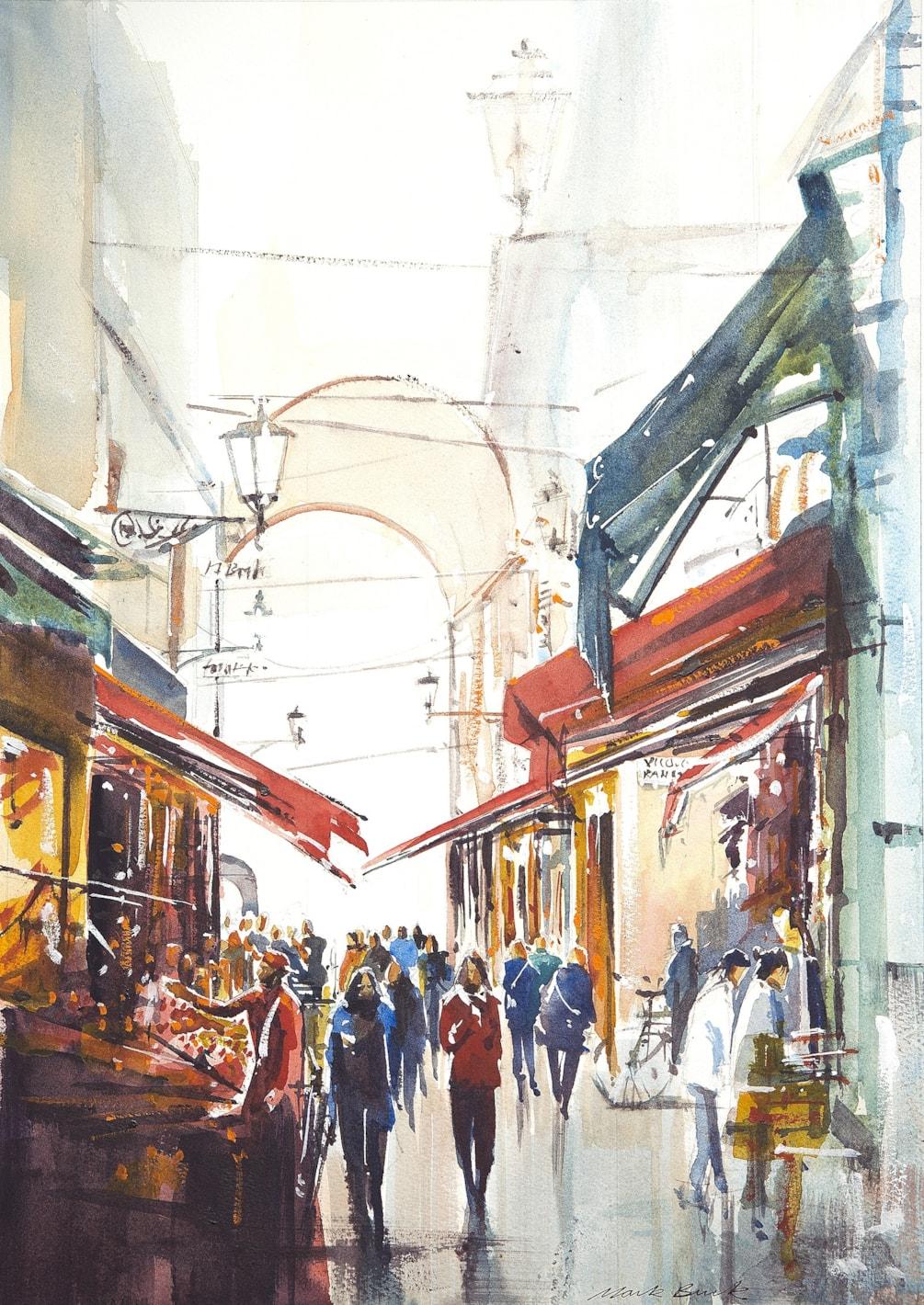 Bologna market in Via Pescherie Vecchie