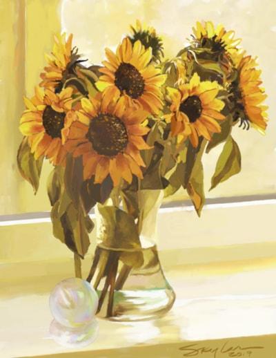 Golden Sunflowers'n'Glass