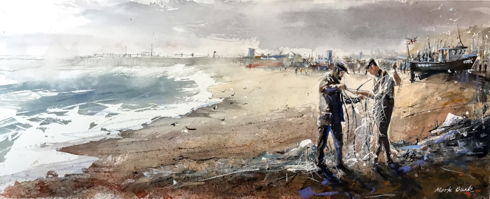 Fixing the nets at Hastings, watercolour 70 x 33 cm