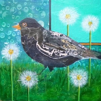 Collaged blackbird