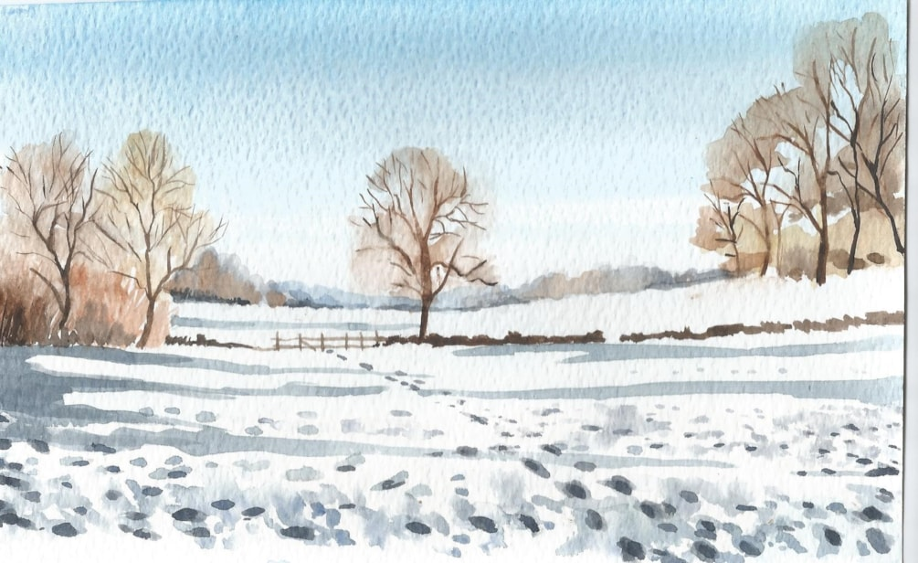 Fields in snow - Painting challenge 2