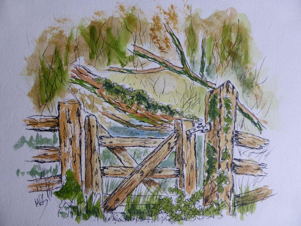 No through road. pen and wash sketch