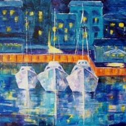 Marina Midnight.  Acrylic painting on canvas 12 x 12ins