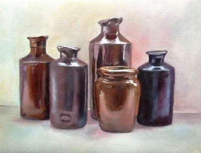 Brown bottles and jar