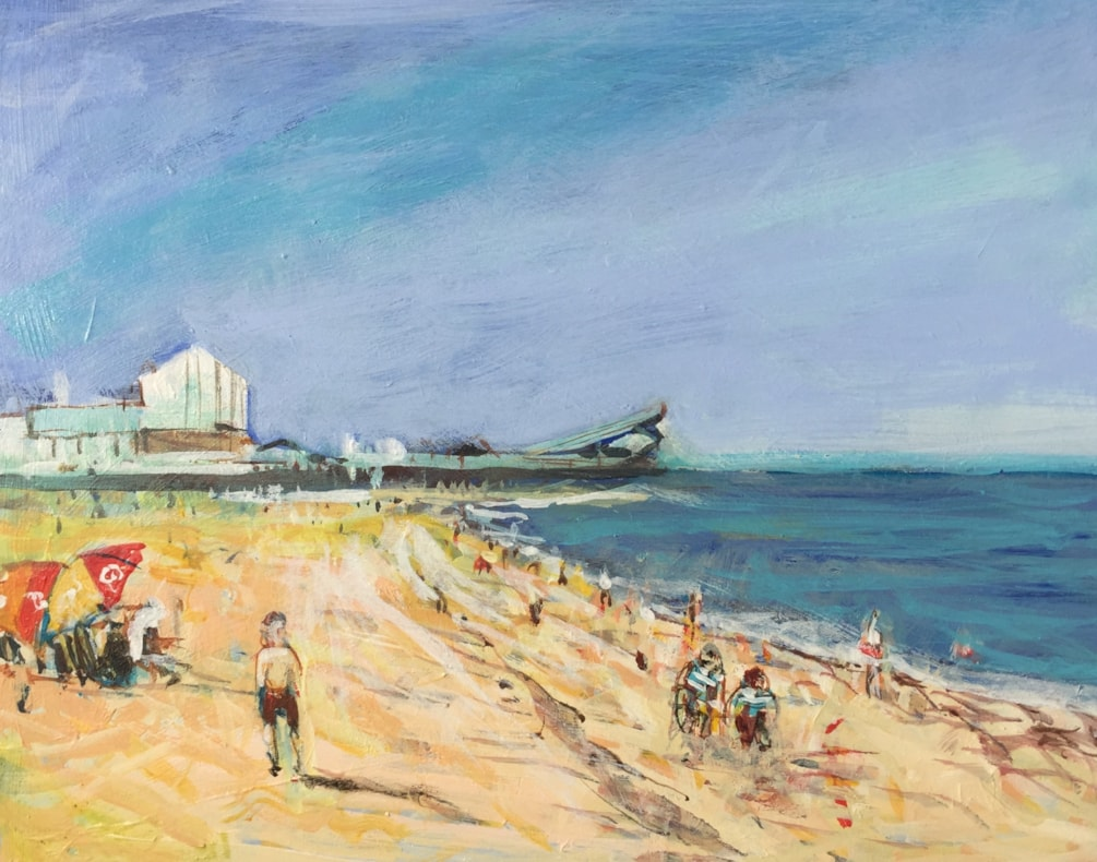 On the beach Great Yarmouth, en plein air acrylic on 8x10 board