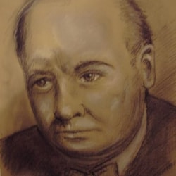Winston Churchill charcoal on Murano sand