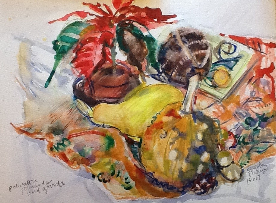 Poinsettia, pomander and gourds.