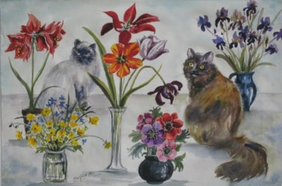 Cats and Flowers.