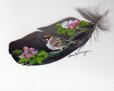 Tree Sparrow with Apple Blossom