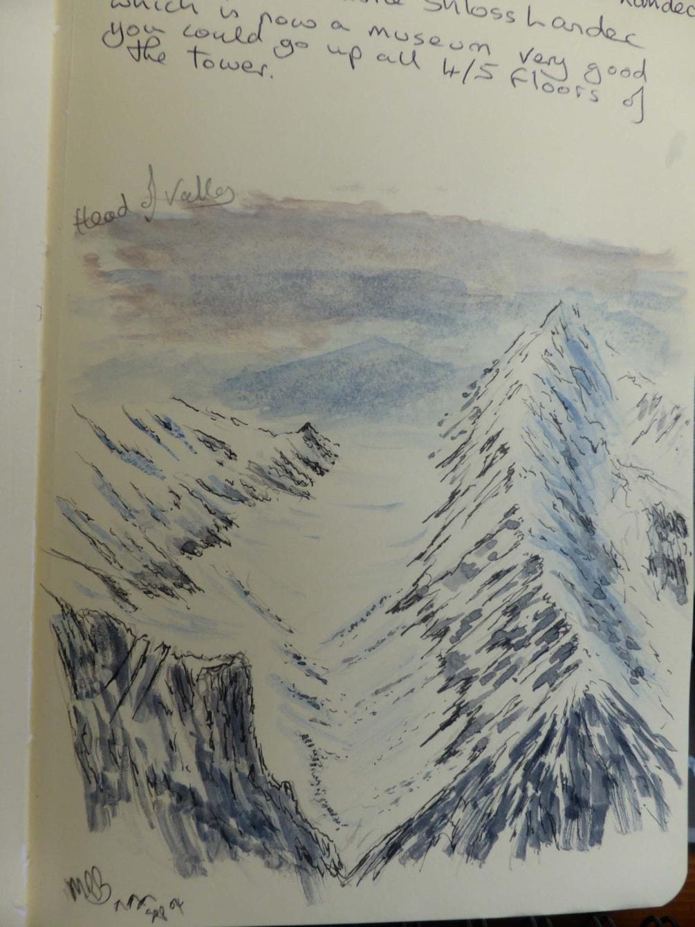 Sketch. Glacier head of valley above ST Anton Austria