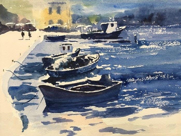 Blue Harbour - watercolour