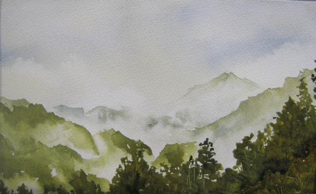West coast mist - South Island  A4 watercolour