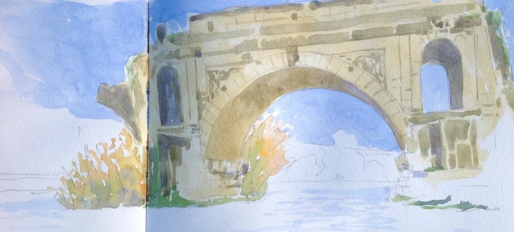 The Old Palatine bridge, Rome.