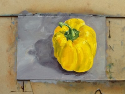 "Yellow pepper 5"" X 7"" oil on board"