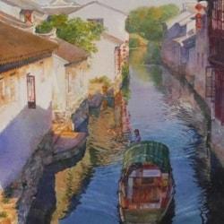 """water town,watercolor,30""""x18"""",by Zhou Tianya"""