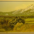 """from a back road the volcanic plateau in high summer"" in watercolour"