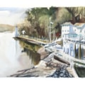 Portmeierion Hotel, plein air watercolour